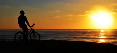 Biking by Beach at Sunset in San Diego