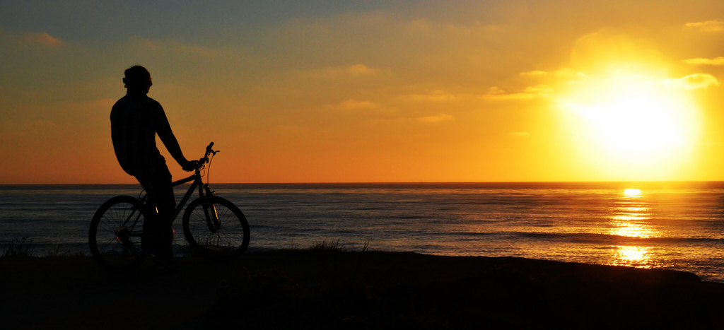 Biking by Beach at Sunset in San Diego